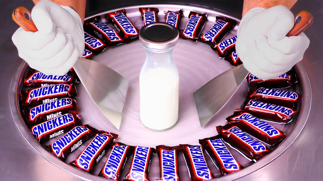 Massive Snickers - Ice Cream Rolls | satisfying Food Transformation with Chocolate Bars - ASMR / 4k