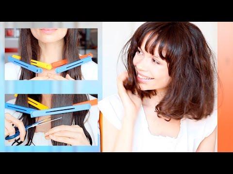 Cómo cortar el cabello en casa: LONG 'BLUNT' BOB hairstyle   How to cut your own hair (DIY)