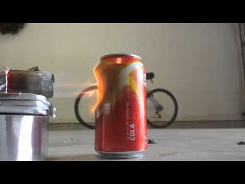 Homemade jet engine 2 melting a can