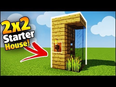 Minecraft: 2X2 Starter House Tutorial - How to Build a House in Minecraft (Smallest Minecraft House)