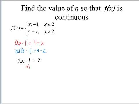 Find a value to make piecewise continuous