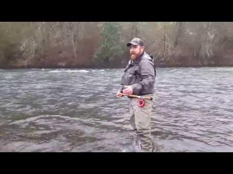 Spey fishing for winter Steelhead with triple density Scandi Heads