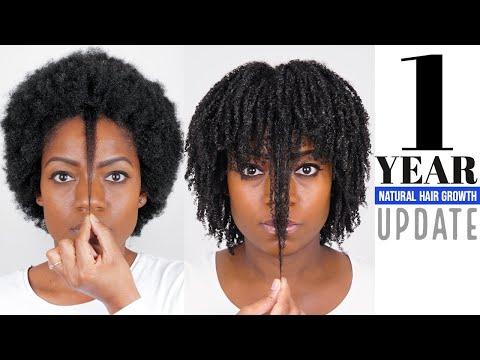 1 Year Natural Hair Growth (Length Check) (Hair Update)  (April 2018)