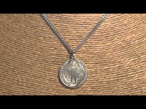 Sterling Silver St. Benedict Medal with 24