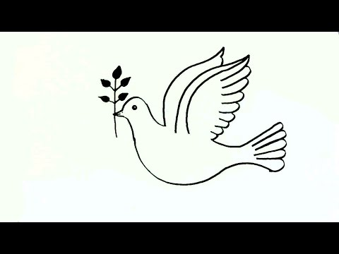 How to draw a Peace Dove- in easy steps for children. beginners