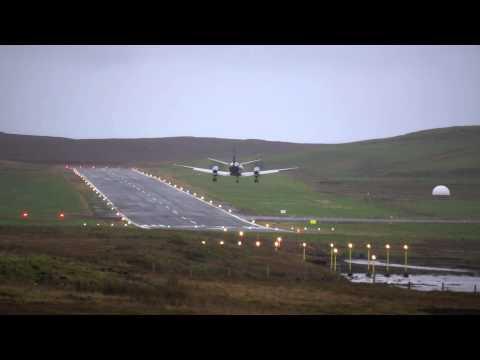 Extreme Crosswind Landing SAAB 2000, Scatsa Airport, Shetland