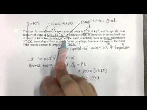 Solving Latent Heat of Vaporisation problems - GCE O Level Pure Physics