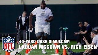405 Pound Tight End Laquan Mcgowan Vs Rich Eisen In 40 Yard Dash Simu
