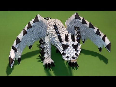 3D origami dragon with wings