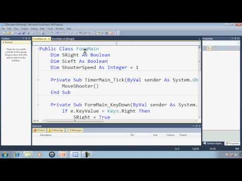 Visual Basic Express 2010 Tutorial 34 Programming The Shooter - EZInvaders Part 3 Game