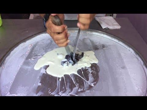 Ice Cream Rolls   Oreo, Brownie & Vanilla / Fried Thai roll Ice Cream rolled in Thailand 🍦 🍧 🍨 🌀