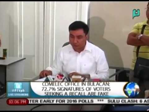 COMELEC office in Bulacan: 72.7% signatures of voters seeking a recall are fake || Apr. 9, 2015