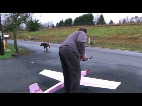 8' foamy scratch built pink insulation RC electric airplane