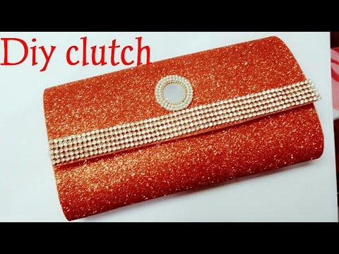 How to make no sew clutch purse with glitter foam sheets in 5min/DIY clutch purse no sew tutorial