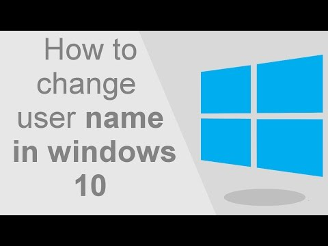 How to change user name in windows 10