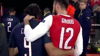 Edinson Cavani got a rough neck massage from Olivier Giroud 23/11/2016