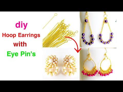diy||Hoop Earrings With Eye Pins||Quick and Easy Earrings With Pearls||Daily wear earrings