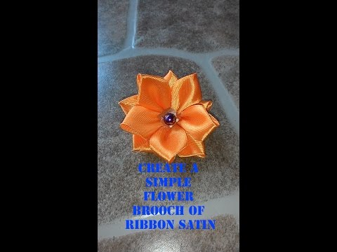 Create A Simple Flower Brooch Of Ribbon Satin