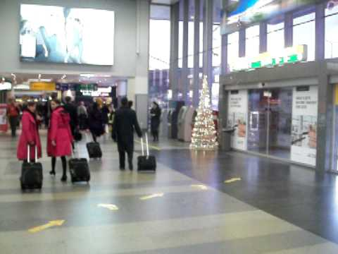 Prague airport arrivals terminal one taxis and busses.MOV