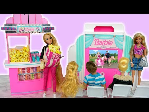 Barbie Movie Theatre Unboxing Review Toy Popcorn Machine دمية باربي لعبة Barbie Cinema Filme Teatro