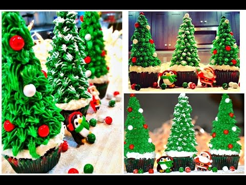 Christmas Tree Cupcakes / How to Make Easy Christmas Tree Cupcakes!