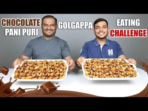 CHOCOLATE PANI PURI / GOLGAPPA EATING COMPETITION   Pani Puri Challenge   Food Challenge