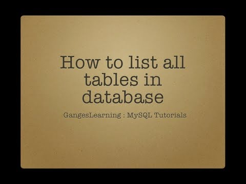 MySQL Tutorials: How to list all tables in your database