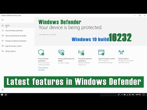 Windows 10 build 16232 new features in Windows Defender antivirus.