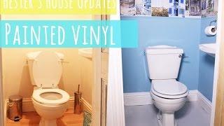 Toilet makeover part 2, painted vinyl floor