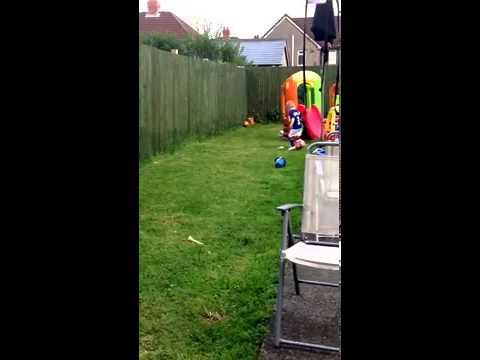 Football skills 3 year old check his footwork