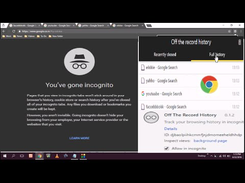 How to save browsing history of incognito windows in chrome