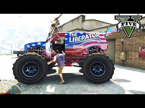 monster truck stunts & break dance gta5 | gta v monster truck spawn location liberator monster truck