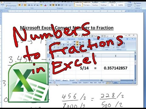 Converting Numbers to Fractions in Microsoft Excel 2007