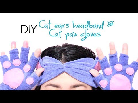 Cat Ears Headband & Paw Gloves out of OLD SHIRT DIY | AiiMADEit