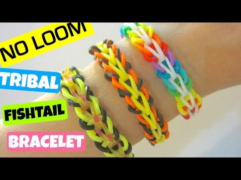 Tribal Fishtail Rainbow Loom Bracelet without a Loom/ using 2 Pencils
