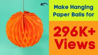 Honeycomb Paper Balls Craft | How to Make Hanging Paper Balls for Christmas Party Decorations