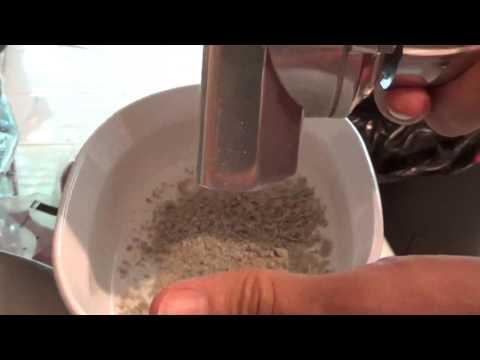 Grind (fine) green coffee beans with standard kitchen grain mill