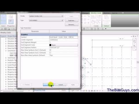 Revit - Customizing Grid Line Symbol  and Grid Head Families- CADtechSeminars.com