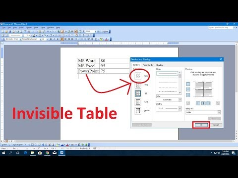 MS Word 2003 : How to Make Invisible Table & Lines