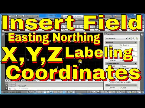 AutoCAD How to Use Insert Field Command to Create Easting, Northing XYZ Coordinates - Free Classes