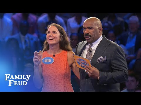Kathy needs 73 points for $20,000! | Family Feud