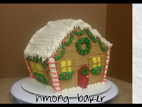 Christmas Gingerbread House Cake. Cake Decorating.