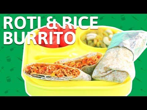 Roti & Rice Burrito Roll Recipe | How to Make Veg Rice Burrito | Tiffin Recipes for kids