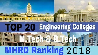 🏆 TOP 20 Engineering Colleges in INDIA 2018 (MHRD Ranking) M.Tech & B.Tech   Best Engg Colleges