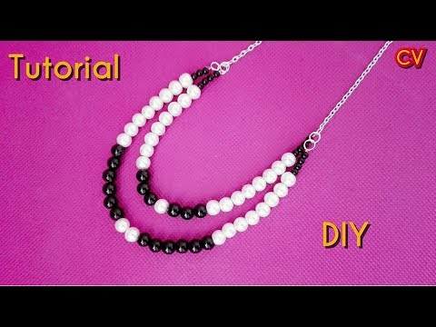 DIY / How to Make 2 Strand Beaded Necklace / Tutorial 1 / Beginners