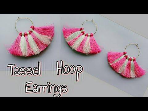 DIY Tassel Hoop Earrings/Two Color Tassel Hoop Earrings/How to make Tassel Hoop Earrings