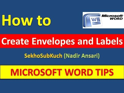 How to Create Envelopes and Labels in Microsoft Word [Urdu / Hindi]