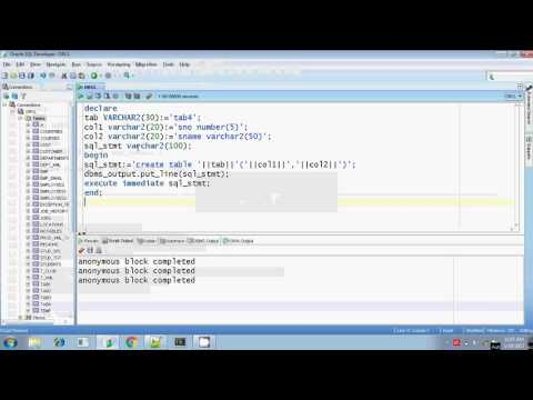 Oracle execute immediate dynamic sql DDL commands Part 1