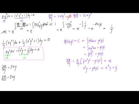 Non-exact differential equation with integrating factor example