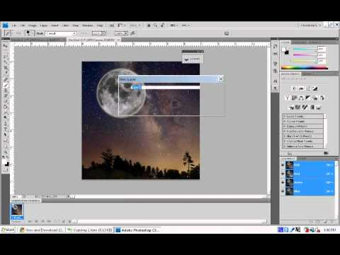 PhotoShop: Glowing Moon and Shoot Stars (Animation)